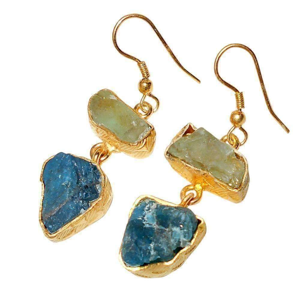 Kamar Apatite + Green Fluorite Earrings, Apatite + Fluorite