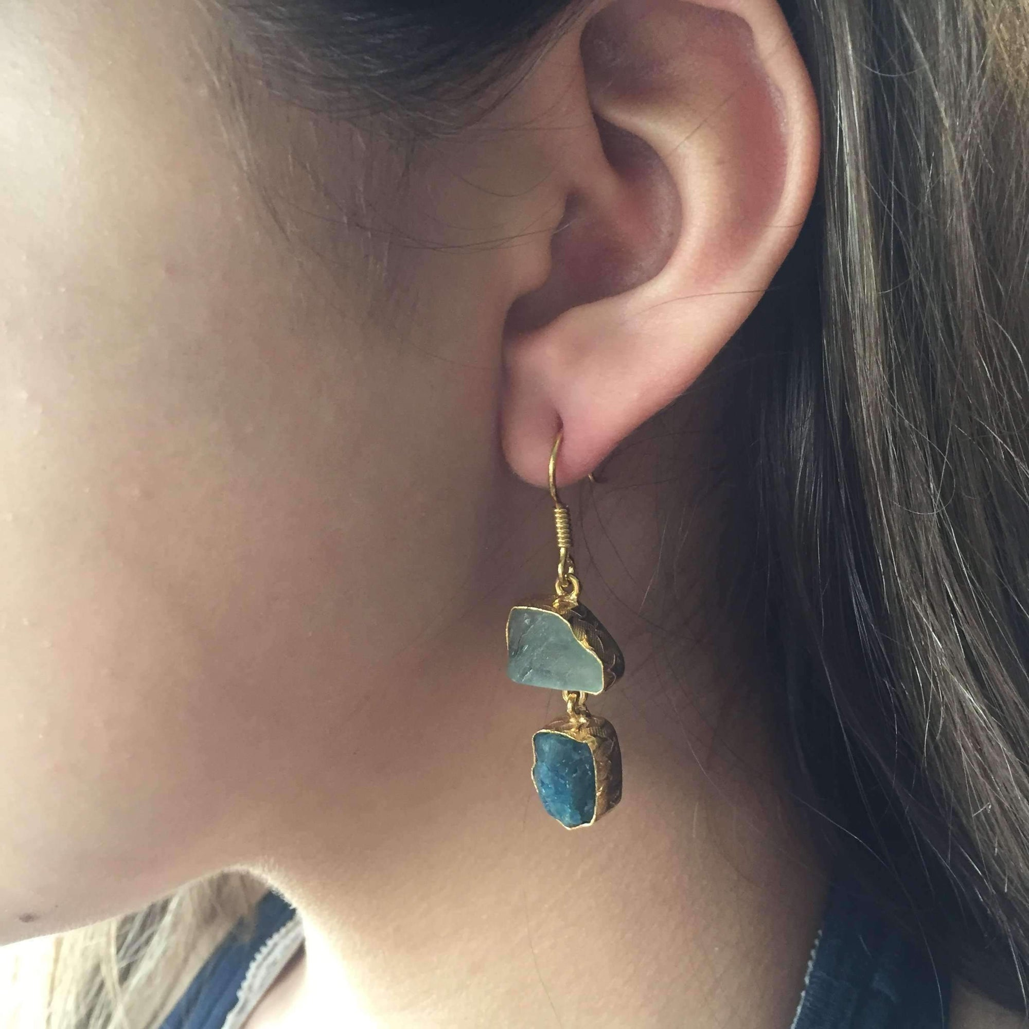 Kamar Apatite + Green Fluorite Earrings