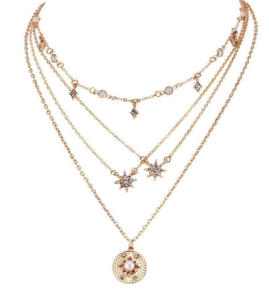 Multilayer Gold Moon Star Horn Crescent Choker Necklace - Sitara Collections