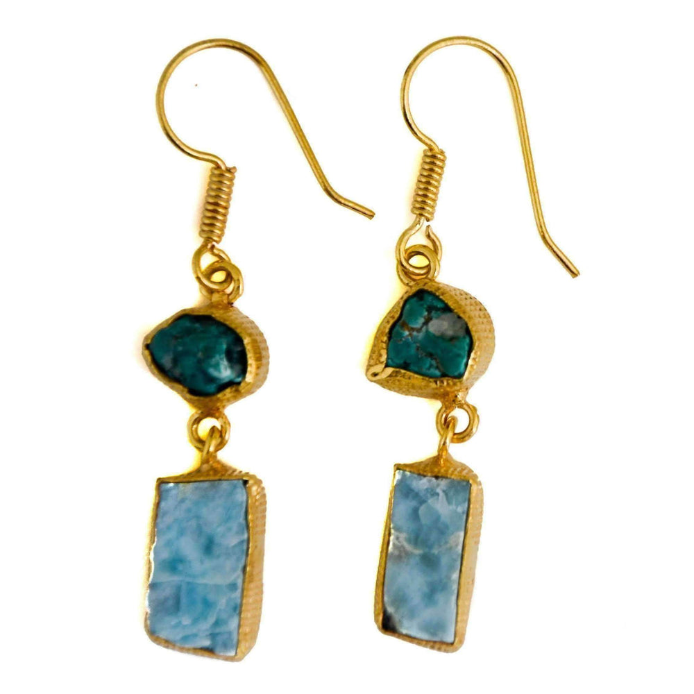 Shalini Turquoise + Larimar Earrings
