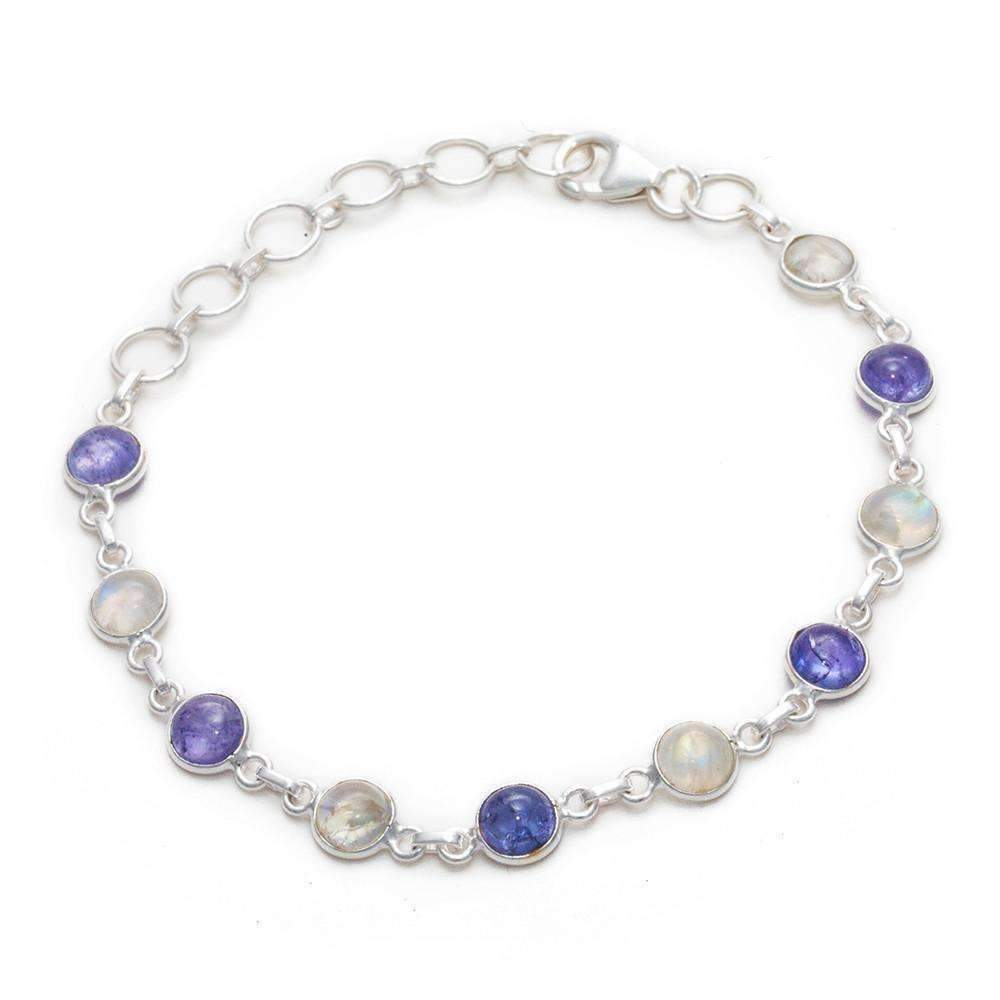 Tanvi Lapis Lazuli + Rainbow Moonstone Bracelet - Sitara Collections