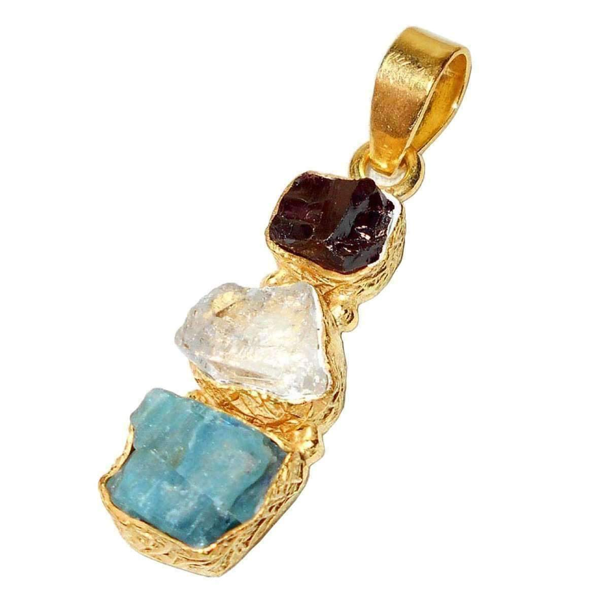 Zarna Apatite + Crystal + Garnet Necklace - Sitara Collections