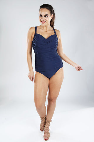 MIDNIGHT NAVY | Plus Size So Slimming Ruched Underwire One Piece by Fantasy Figure Swim