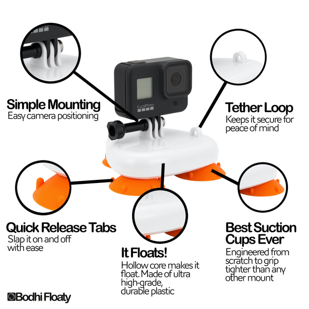 Bodhi Floaty Suction Cup Mount For GoPro Max 360 and HERO cameras