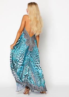 Blue Animal print halter Hawaii dress