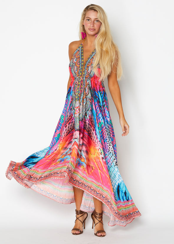 Multicolor animal print hawaii dress