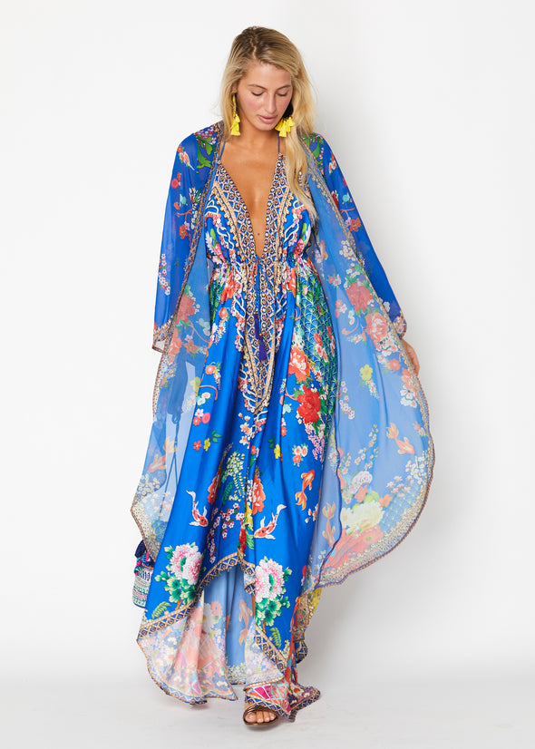 Royal blue Hawaii dress, floral dress and duster