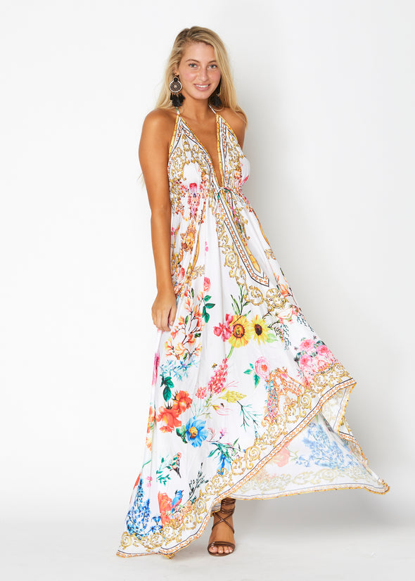 White floral hawaii dress ( 2 pieces)