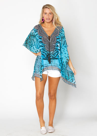 Teal animal print kaftan