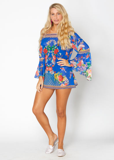 OFF SHOULDER BLUE TUNIC