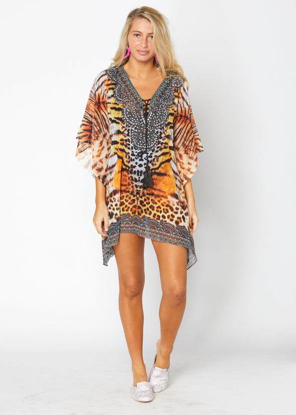 Animal  print short kaftan