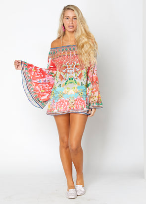 Beautiful Japenese off the shoulder tunic