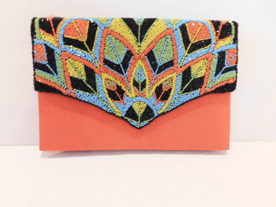 Silk, Orange embellished clutch