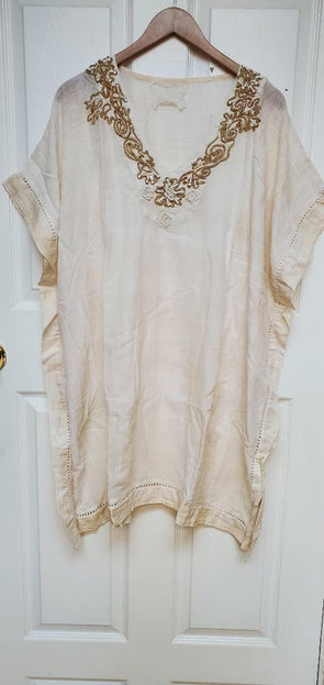 Boho off white kaftan tunic, cool and comfy!