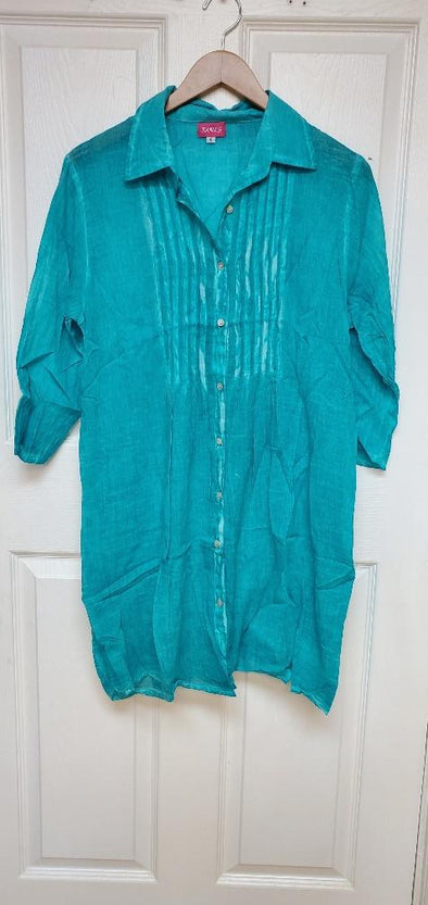 Button down teal green coverup