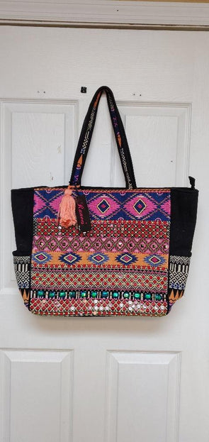 Beach Bag, embellished travel size tote.