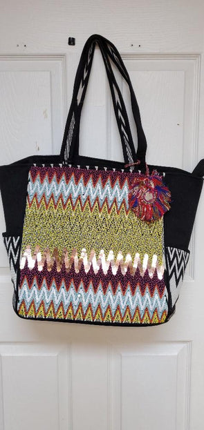 Vacation vibes Beach Bag, embellished travel size tote.