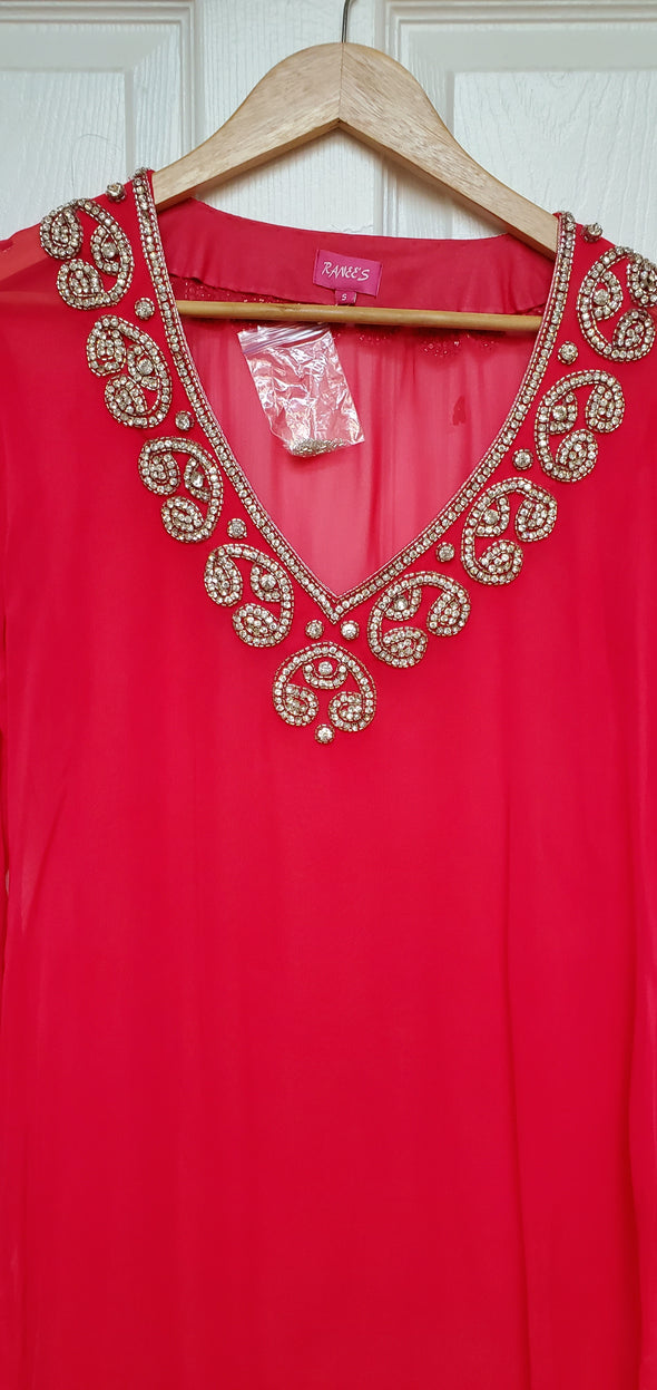 Coral V-NECK TUNIC TOP KAFTAN OMBRE