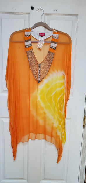 Orange V-NECK TUNIC TOP KAFTAN OMBRE