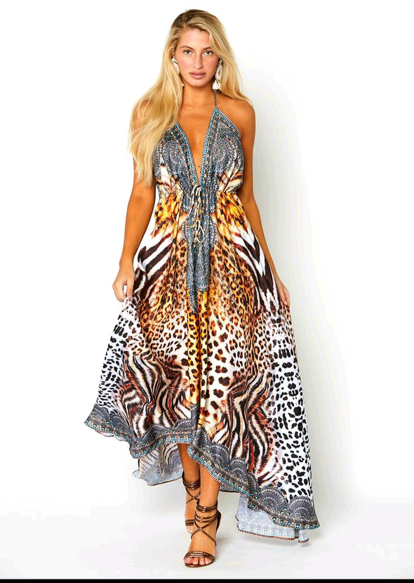 Animal print exotic Hawaii dress  BACK IN STOCK