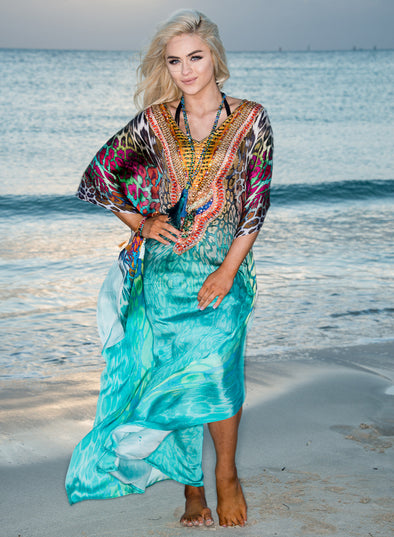 283 - SILK TEAL KAFTAN - BEST SELLER