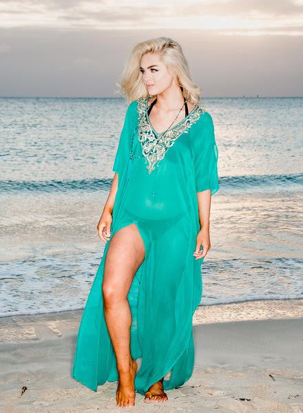 RK 11 - Ranee's Emerald Beaded Long Kaftan
