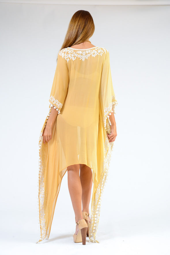 KK 066 - Ranee's sunflower long scallop dress  - PREORDERS ONLY
