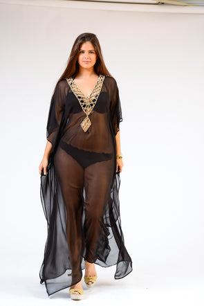 KK 060 Ranee's crystal lace Long Kaftan-  MAKE TO ORDER - SPECIAL ORDER