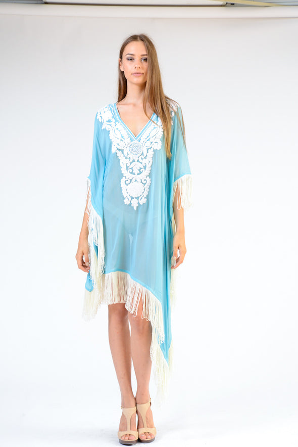 KK 073 - Ranee's Baby Blue Fringe dress - PREORDERS ONLY
