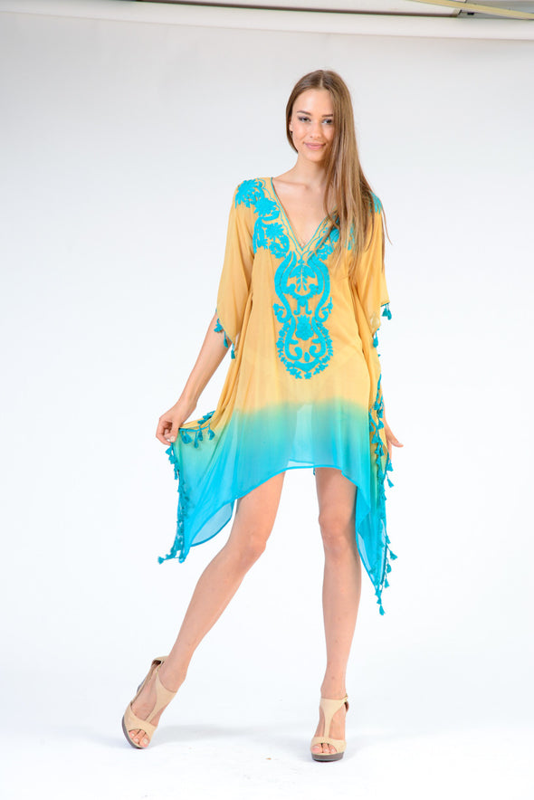 KK 078 - Ranee's Mustard Turquoise Ombre Short Kaftan - PREORDERS ONLY