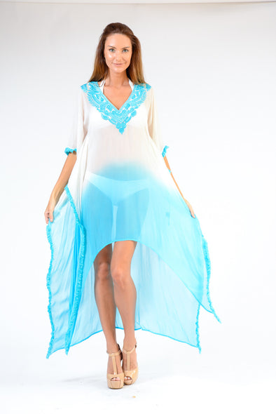 KK 081 - Ranee's white and turquoise coverup dress - PREORDERS ONLY