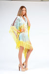KK 063 - Ranee's yellow aqua asymmetrical coverup/ dress - PREORDERS ONLY