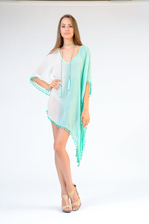 Tassel V-NECK TUNIC TOP KAFTAN OMBRE