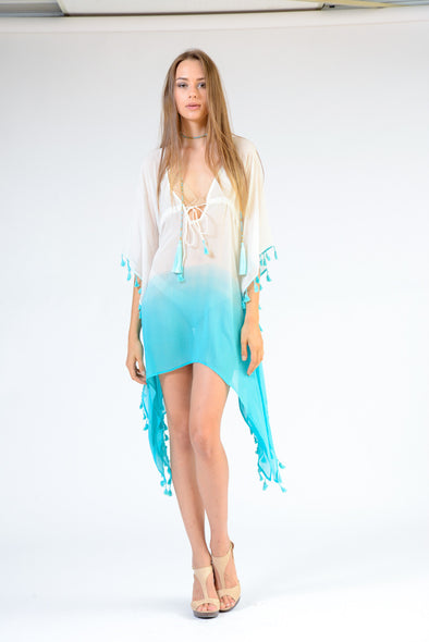 KK 088 - Ranee's white and turquoise coverup - PREORDERS ONLY