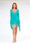 KK 095 - Diamond Border Short Kaftan - HEAVY PIECE- special order