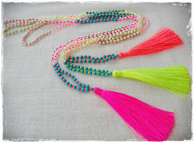 Bohemian bead tassel necklaces assorted! PACK OF 15 - CLEARANCE