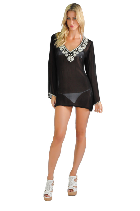 BEADED V-NECK TUNIC TOP
