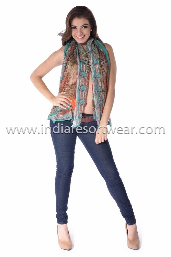 Brown scarf top 113