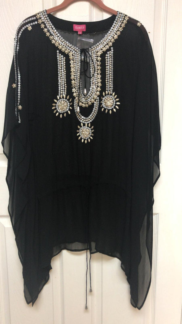 BEADED TUNIC TOP BLACK ( available with silver embroidery)