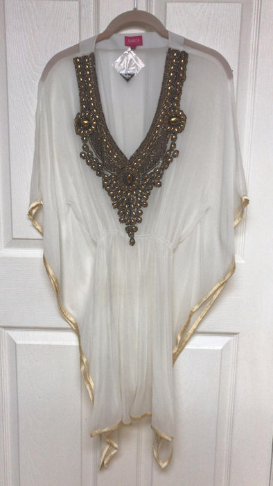 BEADED V-NECK TUNIC TOP KAFTAN