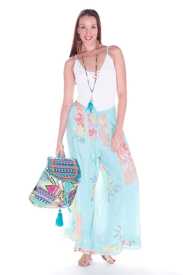 SET Floral Palazzo pants and frill top
