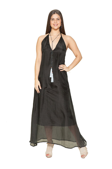 BD - Black sexy, silk backless dress. Three way dress. JUST ARRIVED