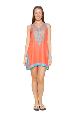 543 Orange silky sleevelesss tunic