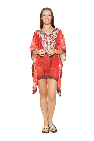 542 Red - silky short kaftan