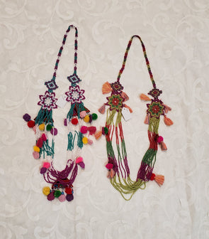 Multicolor boho lace necklace.