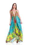 Hawaii dress, floral dress yellow/green