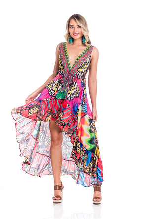 Butterfly multicolor high low dress