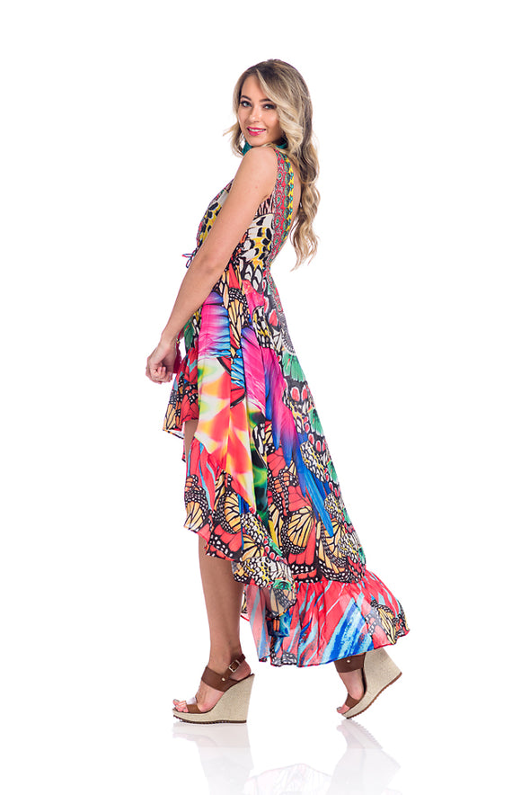 Hawaii dress, butterfly high low