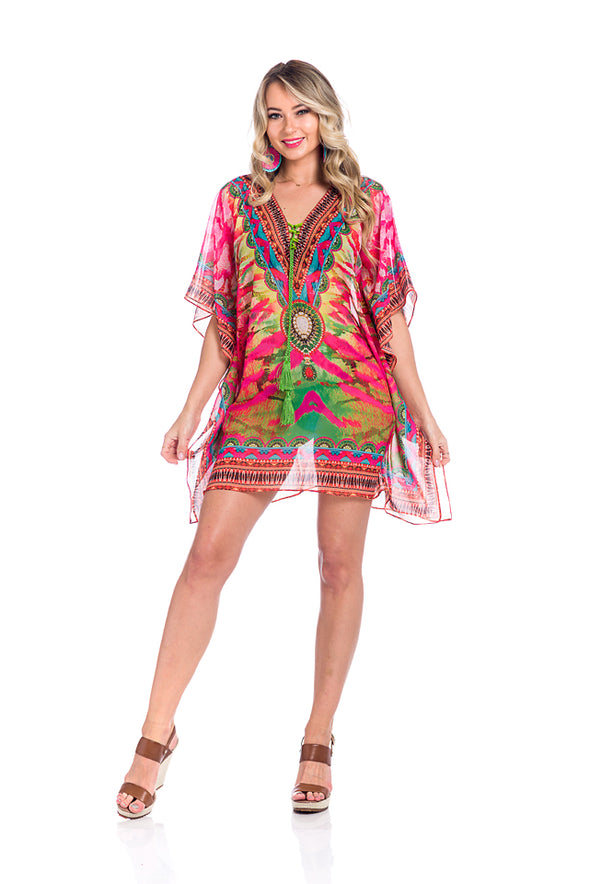 Multicolor kaftan 2020 - Best Seller - Bright Pink