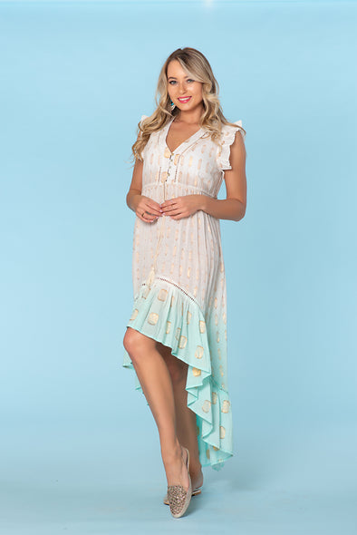 Aqua Sexy High low dress, off white with glitz